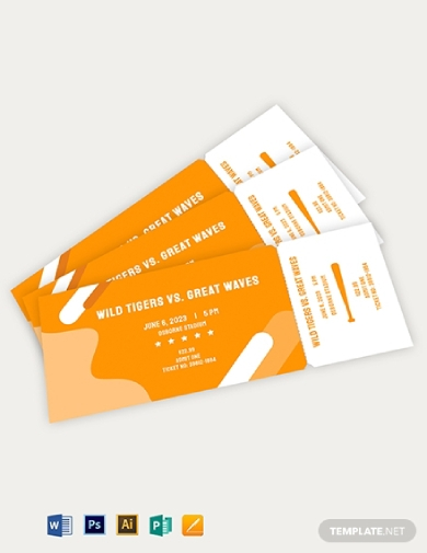 baseball party ticket template