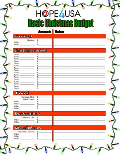 basic christmas budget