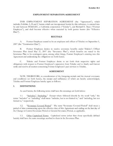 basic employment separation agreement