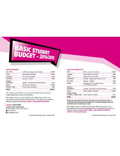 basic student budget