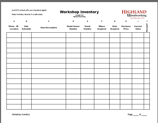 basic workshop inventory template