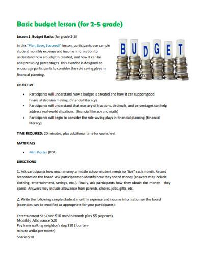 basic budget lesson