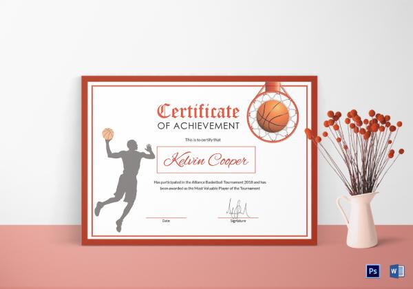 basketball certificate of achievement