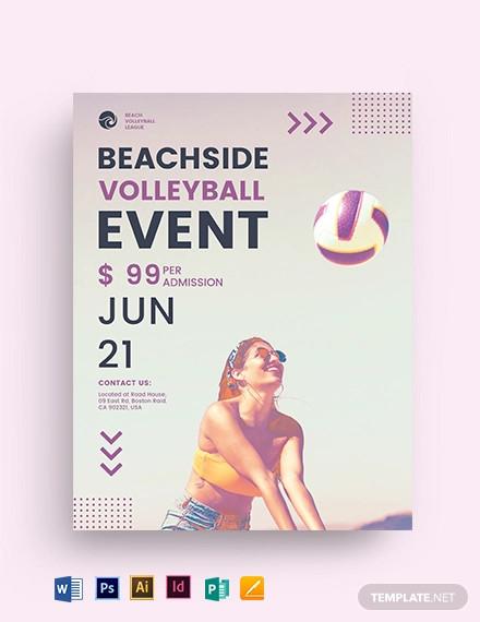 beach volleyball flyer template