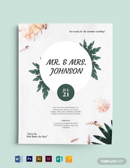 beach wedding flyer template