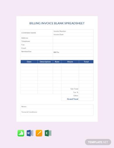 billing invoice blank spreadsheet template