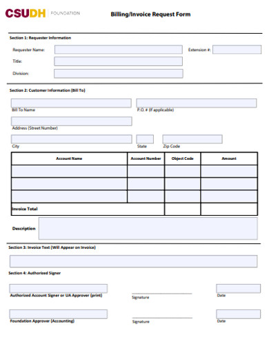 billing invoice request form