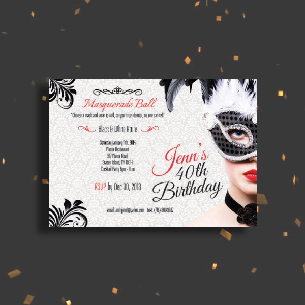 birthday masquerade ball invitation