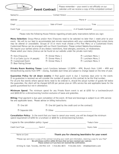 bistro event contract
