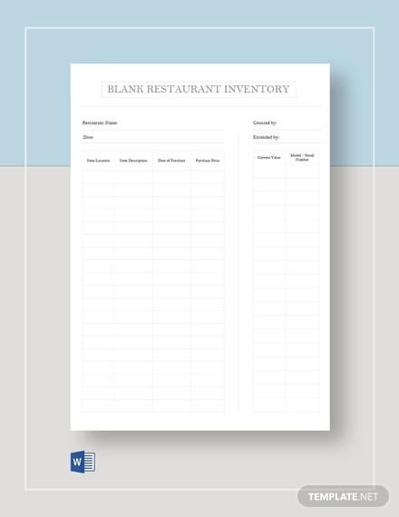 blank restaurant inventory template