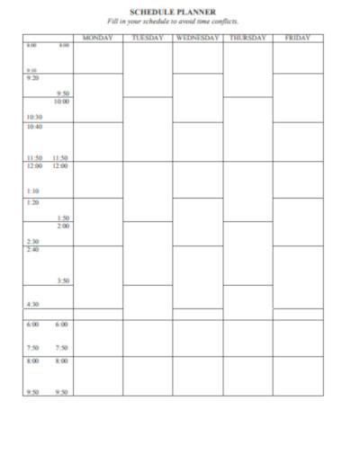 blank schedule planner
