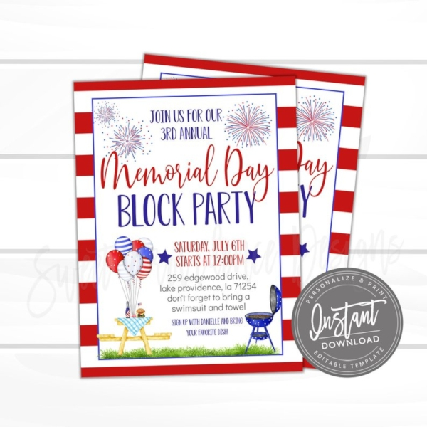 block party memorial day invitation