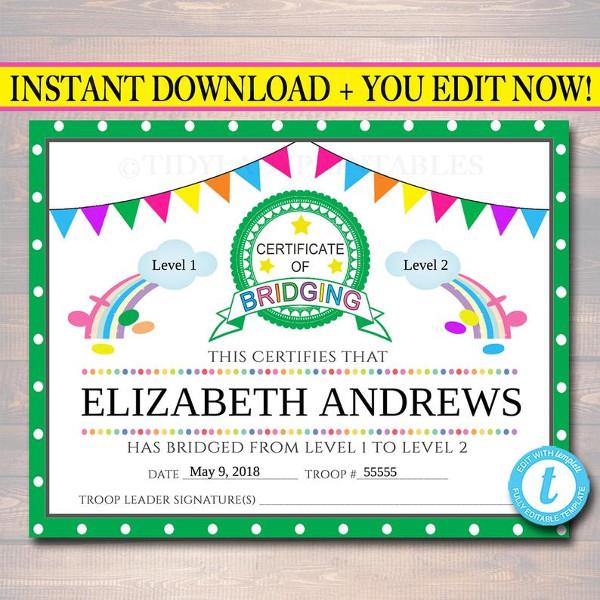 bridging event certificate