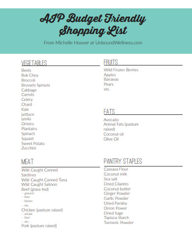 budget friendly shopping list
