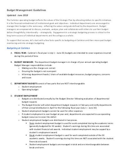 budget management guidelines