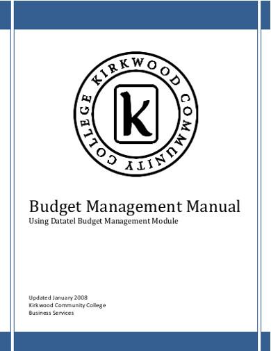 budget management manual