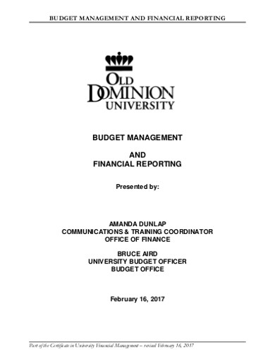 budget management and financial reporting