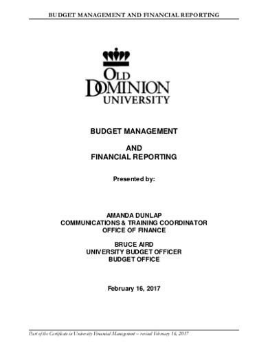 budget managment and financial reporting