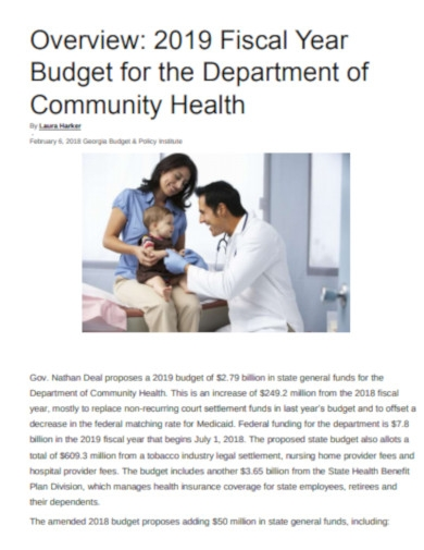 budget for department of health
