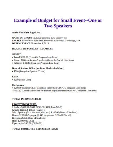 budget for small event