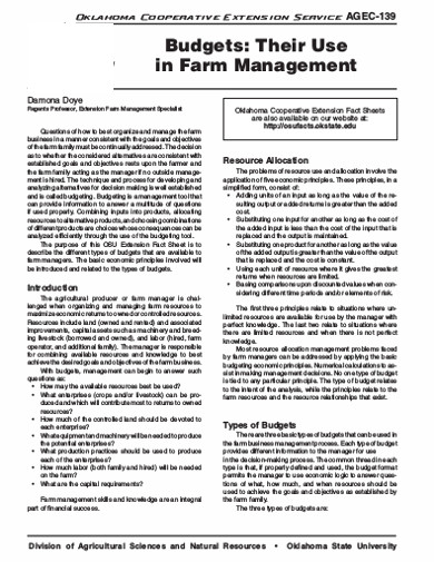 budgets farm management in pdf