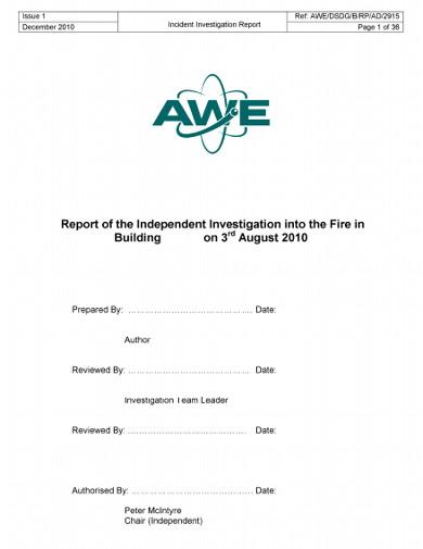building fire incident report
