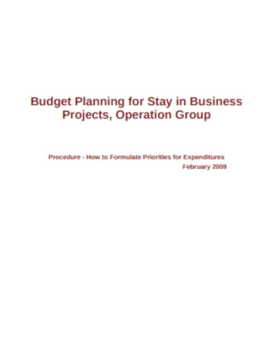 business budget examples