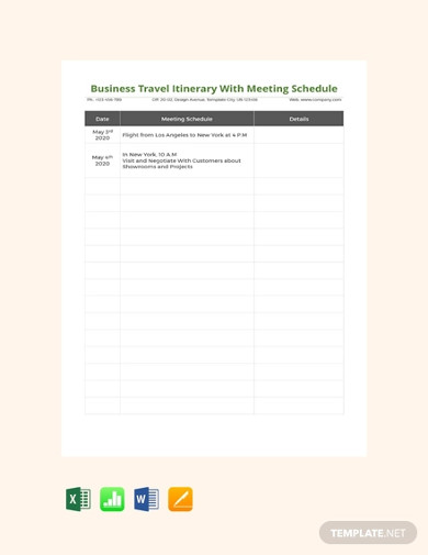 business travel itinerary with meeting schedule