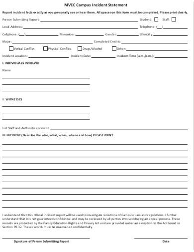 campus incident statement form