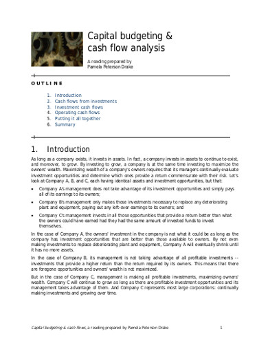 capital budgeting cash folw analysis