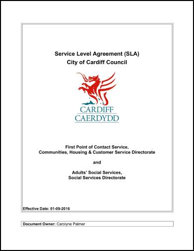 cardiff caerdydd service level agreement