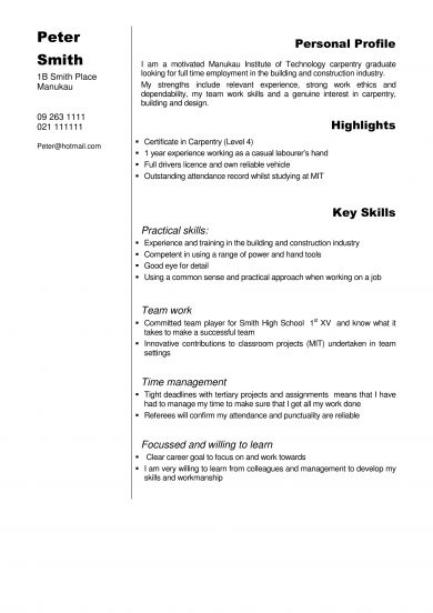 Free 10 Carpenter Resume Examples Templates Download Now Ms