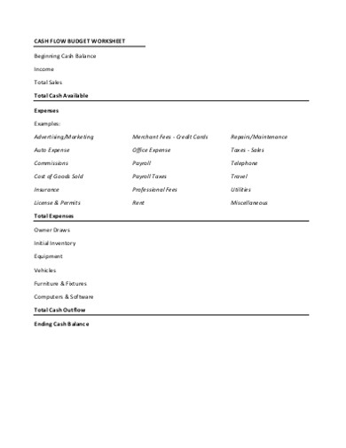 cash flow budget worksheet samples