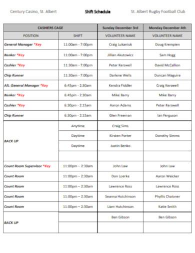 casino shift schedule
