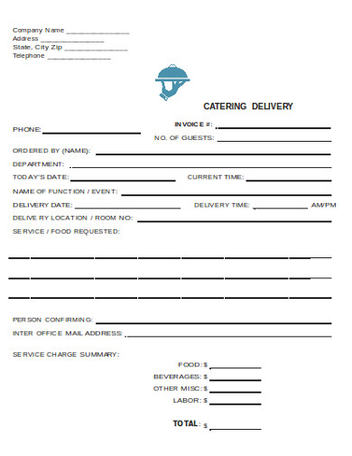 catering delivery invoice