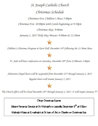catholic church christmas schedule