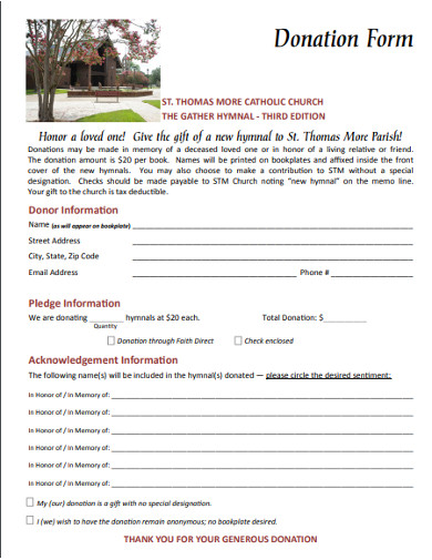 catholic church donation form
