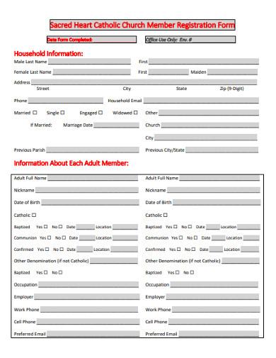 catholic church member registration form