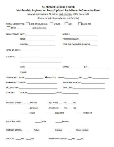 catholic church membership registration form
