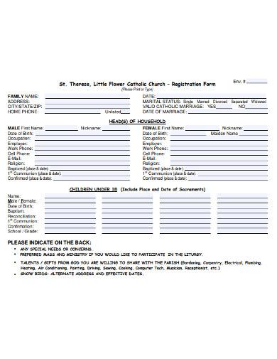catholic church registration form