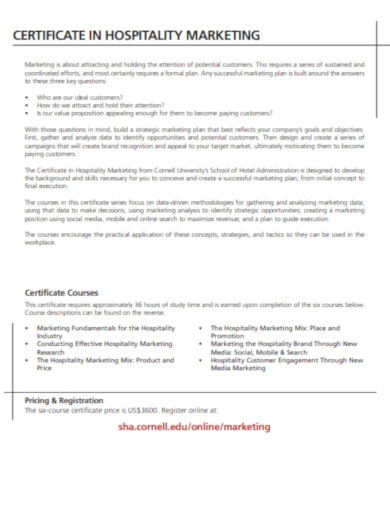 certificate in hospitality marketing