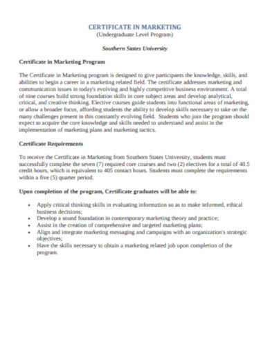 certificate in marketing