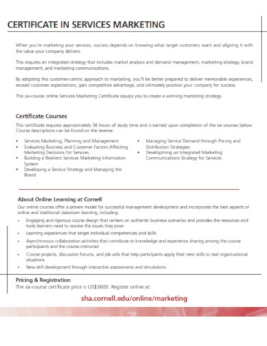 certificate in services marketing