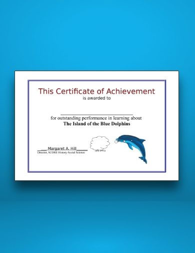 certificate of achievement for history