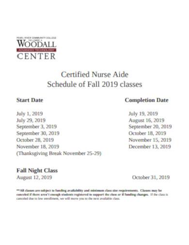 certified nurse schedule