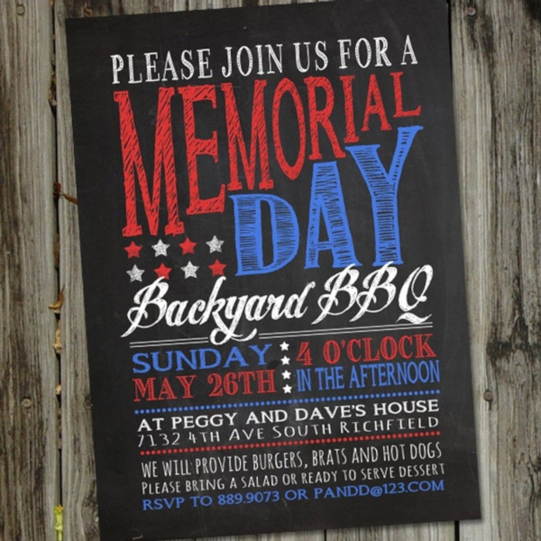chalkboard memorial day invitation
