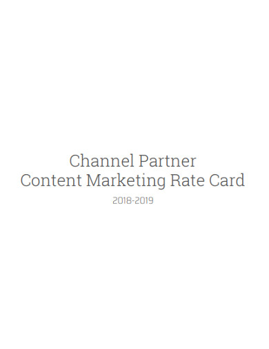 channel partner content marketing rate card