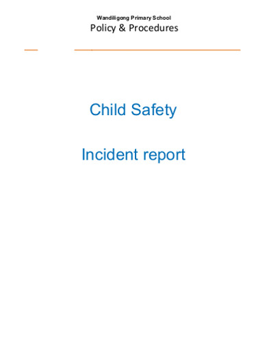 child safety incident report