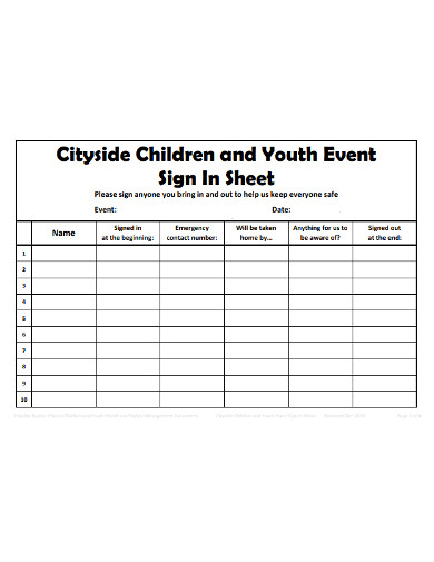 children and youth event sign in sheet