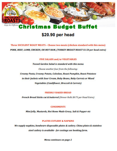 christmas budget buffet